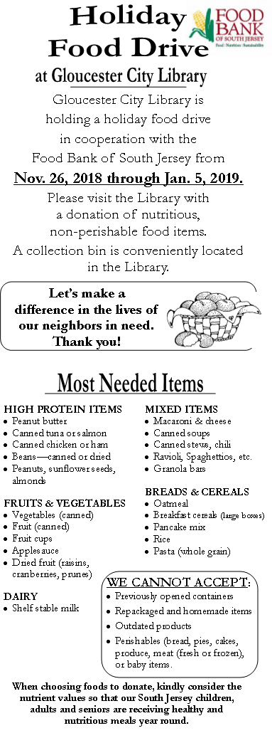 Holiday Food Drive at Gloucester City Library | November 26th, 2018 through January 5th, 2019.